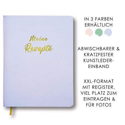 Meine Rezepte fliederblau: Großes Rezeptbuch zum Selberschreiben in blau im Leder-Look mit Register und Platz für Fotos, liniert