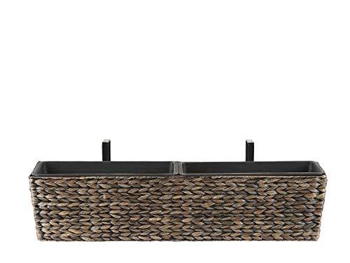Beliani Rechteckiger Balkonkasten Braun 80x20x18 cm Landhausstil Kawala