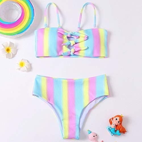 YIXING Rainbow Girl Swimsuit Kids 9-16 Years Teenage Girl Bikini Set Bow Tie Two Piece Children's Swimwear Bandeau Girls Bathing Suit (Color : Multi, Size : 140)