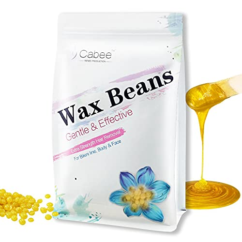 Hard Wax Beads for Hair Removal - Painless Wax Beans Depilatory for Wax Warmer Kit by Cabee for Women and Men - Stripless Brazilian Bikini for Face, Legs, Underarm, Back, Chest.(1lb, Gold,Honey)