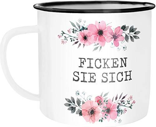 Emaille Tasse Becher Ich hasse Menschen Blumige Grüße Kaffeetasse Moonworks® Ficken Sie sich weiß unisize