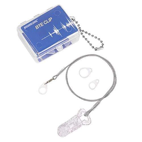 【片耳用】 補聴器落下防止クリップ付き ストラップ :グレー