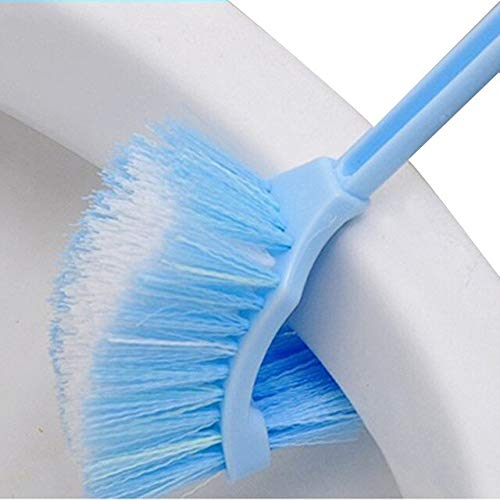 Best Portable Toilet Brush Plastic Long Handle Bathroom Toilet Bowl Scrub Double Sided Cleaning Brush - (Color: Blue)