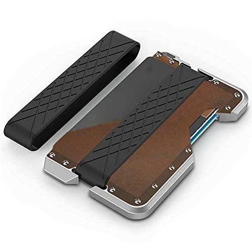 ZGHYBD Metal Aluminum bi-Fold Tactical Wallet, Tactical Leather Bifold Card Holder Wallet for Men,Card Holder, Metal Card Holder, (Coffee)