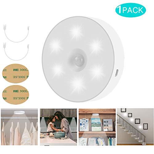 Luz Nocturna con Sensor de Movimiento, USB Charge Luz Activo Luz para Niños con Auto Encendido/Apagado para Dormitorio Pasillo Baño Habitación de Bebé Cocina Garaje Armario, Pasillos, Escaleras