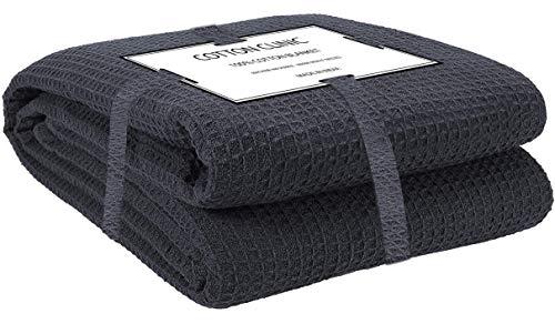 Katoenen-Kliniek Knuffeldeken 100% katoen 230x230 cm, zachte warme pluizige woondeken/reisdeken/knuffeldeken, sprei deken omkeerbaar Dubbele bank over bed stoel, grijs