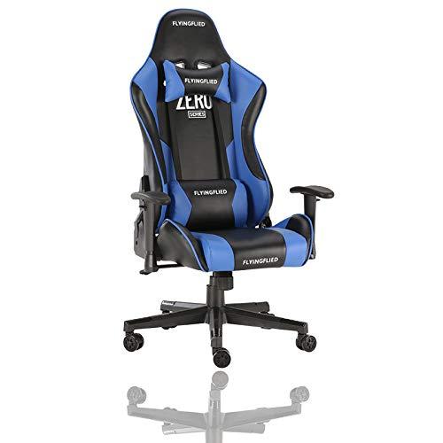 ZZYYLL Silla para videojuegos, sillas ergonómicas ejecutivas con reposabrazos ajustables 3D de piel sintética giratoria ergonómica, sillas de videojuegos con reposacabezas y soporte lumbar, color azul
