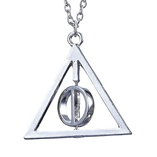 Harry Potter Luna Reliquias De La Muerte Collar Con Colgante Triángulo Giratorio Colgante De Aleación Estilo De Moda Simple Hombres Y Mujeres Universal