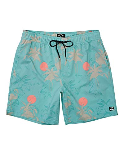 Billabong Men's Elastic Waist Stretch Sundays Layback Boardshort Swim Short Trunk, 17 Inch Outseam, Sea Green, L