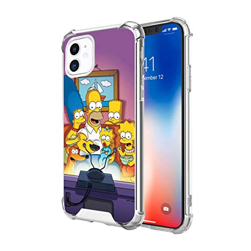 Clear iPhone 11 Case Cartoon Design Soft TPU Bumper and Anti-Scratch PC with 4 Corners Shockproof Protection, Phone for 6.1 in (The Simpsons)