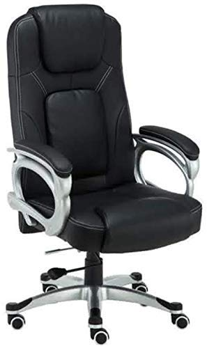 XBSXP Executive Recline Ergonomic Executive Gaming Swivel Seat Chair, Adjustable Height 350- Pound Capacity Swivel Chairs with Armrest Office Chair (Color : Black)