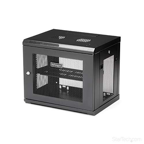 StarTechcom 9U Wall Mount Server Rack Cabinet  2Post Adjustable Depth 6quot to 15quot IT Data Equipment Enclosure with Cable Management  200lb / 90kg RK9WALM