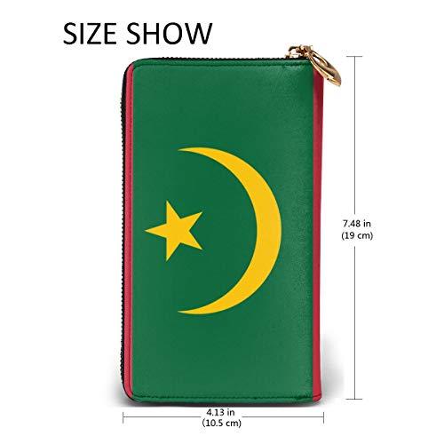 WU4FAAR Damen Geldbörse mit Mauretanien-Flagge, Echtleder, umlaufender Reißverschluss, Schwarz, Einheitsgröße