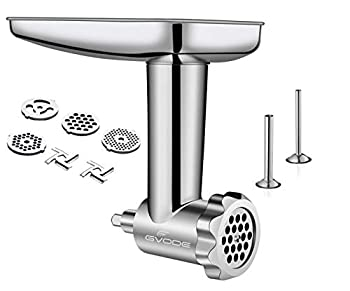 Stainless Steel Food Grinder Attachment fit KitchenAid Stand Mixers Including Sausage Stuffer Dishwasher Safe,Durable Meat Processor Accessories