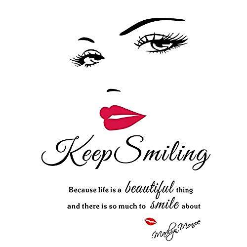 QINGTIEA Wandtattoo Beauty Salon Mädchen Gesicht Mit Hand Maniküre Nagel Lippen Wandtattoos Vinyl Wandaufkleber Innendekoration, 58 * 71 Cm