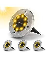 Nasharia 4-delige led-vloerlampen op zonne-energie, IP65, roestvrij staal, buitenverlichting, waterdicht, vloerverlichting, led-padverlichting, landschap, lamp voor oprit, gazon, pad