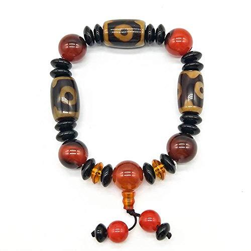 ZMMZYY Stone Bracelet, Natürliche 3 Augen Achate Armband für Männermode Klassik Prayerjewelry Yoga Freunde Zubehör Geschenke
