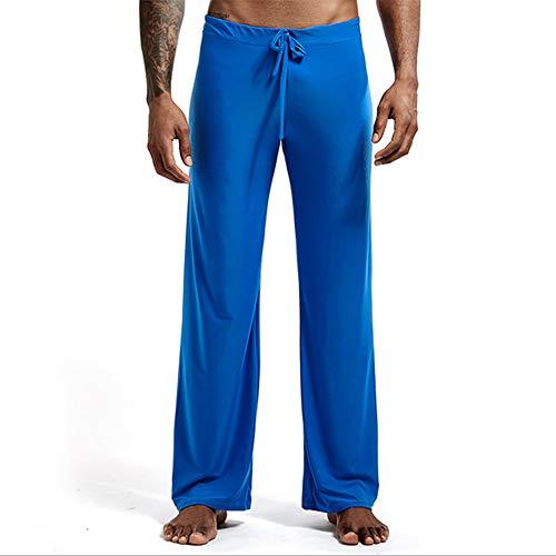 Hombres Pantalones Caseros Pijamas Color Sólido Banda Ancha Pino Hielo Seda Nylon Pantalones De Gran Tamaño Pantalones De Yoga,E-XXL