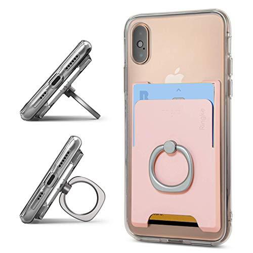 Ringke Ring Slot Card Holder [Peach Pink] Delgado Difícil Prima PC Accesorio para Tarjeta de Crédito con el Soporte del Anillo de Dedo Compatible con Funda, Almohadilla y más para Teléfonos Móviles