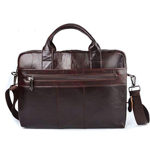 Yi-xir Ladies' favorite bag Literal Leather substantial leather laptop bag business Handbags Cowhide Men Crossbody Bag Men's Travel brown leather briefcase Diagonal bag backpack