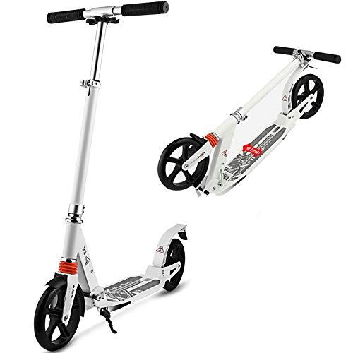 Big Wheel Tretroller klappbar-City-Scooter, Höhenverstellbar Aluminium Tret-Roller Kickscooter für Erwachsene und Kinder(Max 100kg) (Weiß)
