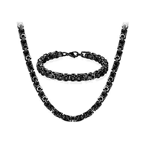 JewelryWe Schmuck Edelstahl Ketten Set von Halsketten und Armketten für Herren schwarzen Armbändern 8mm breit und 21,5 cm für Armband, 22 Zoll für Halskette