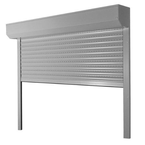 Vorbaurollladen Typ Corner, 39mm Aluminium-Lamelle 100x190cm mit Motor, Bedienseite: Links, (grau (ähnlich RAL7038)) als Maßanfertigung