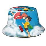 Ponyo Outdoor Travel Sun-Proof Fisherman Hat, Unisex Flat-Top Breathable Bucket Hat, Summer Wide-Brim Uv-Proof Hat, Fishing Hat Black