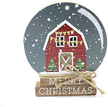 Christmas Barn Snow Globe Decor