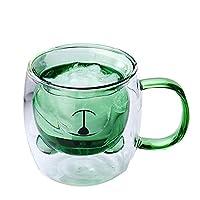 ガラスかわいいベアーカップ、ダブルコーヒーミルクカップ、ジュースカップ、ティーカップ、倒れたクマのガラス、ハンドル付き水のコップ emerald green