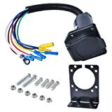 Poweka 7 Way RV Trailer Light Connector Socket 7 Wire Harness Electrical Quick Converter Adapter with Mounting Bracket,for RV, Truck, Trailer, Camper