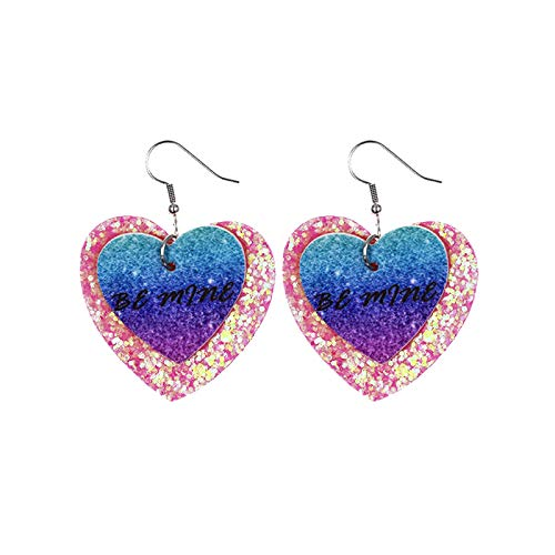 SDCAJA Valentine's Day Earrings Heart Love Double Sided Printed Earrings Valentine's Jewelry Gift For Women Girls