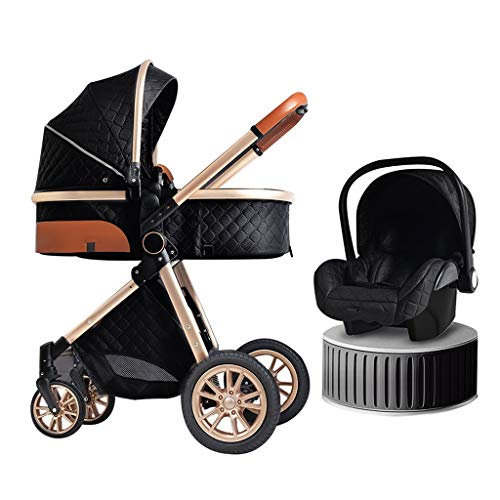 3 In 1 Baby Pram Stroller Travel System, Foldable High Landscape Anti-Shock Newborn Baby Strollers With Stroller Organizer, Pushchair Used In 0-3 Years Old (Color : B)