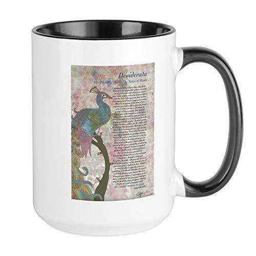 CafePress Kaffeebecher The Desiderata Gedicht by Max Ehrmann LRG, keramik, Innen weiß/schwarz, Large