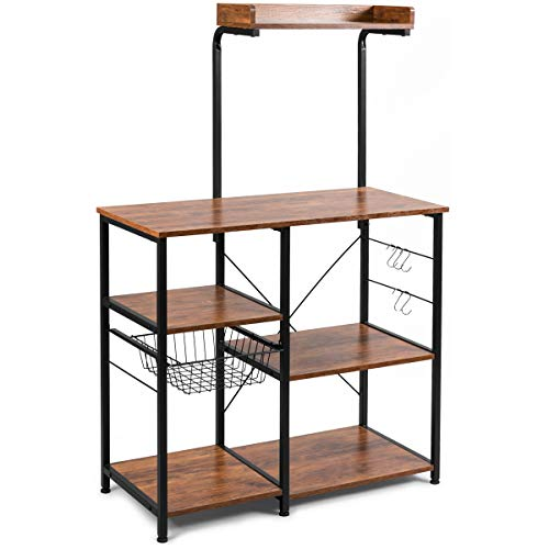 "Giantex Kitchen Baker's Rack, 4-Tier Microwave Storage Stand, Utility Storage, Wire Basket with 5 Hooks, Spice Utensils for Organizing Work Station Shelf 35.5"" Length (Brown&Black)"