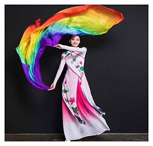 Huiyue Silk Belly Dance Silk Veil Tiro de Mano Bufanda Shaw Shawl Degradado 200 cm 250cm 270cm 300cm Faldas (Color : Lake Blue, Size : 270X114CM)