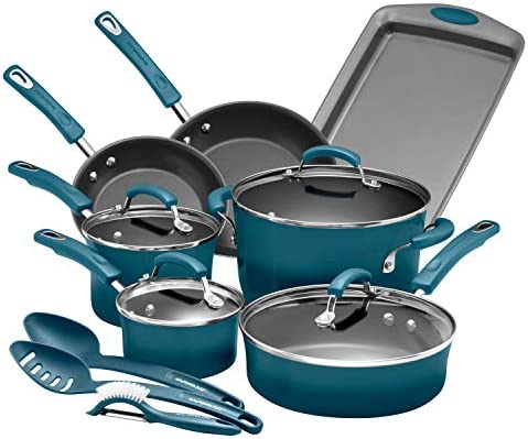 Rachael Ray Brights Nonstick Cookware Pots and Pans Set 14 Piece Marine Blue Gradient product image