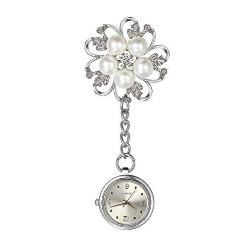 Lancardo Reloj Enfermera con Decoración Floral Reloj de Bolsillo para Médico Plateado Flor Elegante con Perlas de Inmitación Movimiento Cuarzo NO Impermeable Clip Broche