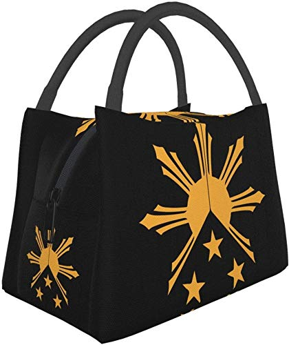 Reusable Lunch Bag, Tribal Philippines Filipino Sun And Stars Flag Lunch Bag Insulated Lunch Box Cooler Tote Bag for Work Outdoor Picnic