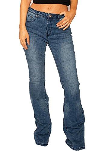 Vaqueros Acampanados Anchos Aspecto Vintage para Mujer Jeans a Campana Pierna Larga - Azul - 34