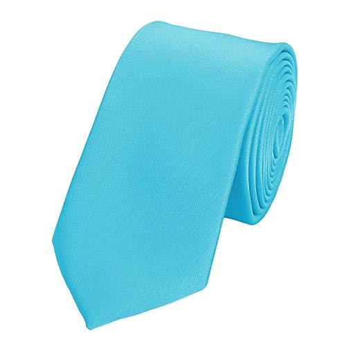 Fabio Farini - einfarbige und elegante Krawatte in verschiedenen Farben und Breiten zur Auswahl Cyan 6 cm