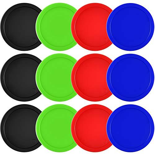 Coopay 12 Stück Home Air Hockey Pucks 6,3 cm schwere Ersatz Pucks für Spieltische Ausrüstung Zubehör, 13 Gramm (rot, schwarz, blau, grün)