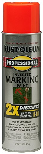Rust-Oleum 266590 Professional 2X Distance Inverted Marking Spray Paint, 15 oz, Fluorescent Red Orange