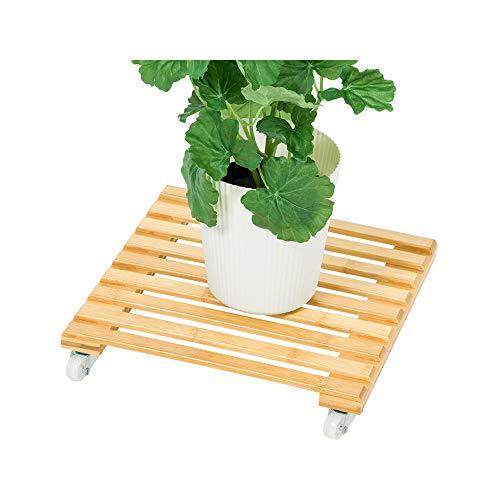 MDZZ Estante Planta con Ruedas Redondas, estantes de bambú al Aire Libre móvil de la Carretilla Planter Pots, Planta fácil de Transportar palets Soporte del balanceo,25 * 25