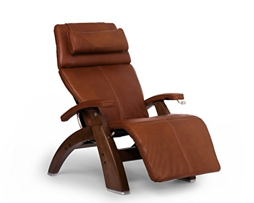 """Human Touch Perfect Chair """"PC-420"""" Premium Full Grain Leather Hand-Crafted Zero-Gravity Walnut Manual Recliner, Cognac"""