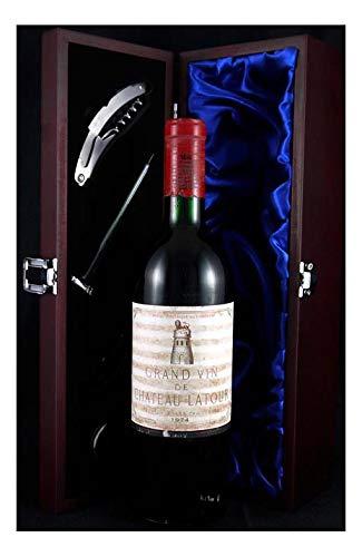 Chateau Latour 1974 1er Grand Cru Classe Pauillac in einer mit Seide ausgestatetten Geschenkbox, da zu 4 Weinaccessoires, 1 x 750ml
