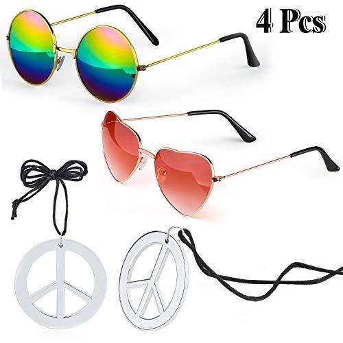Beefunny Hippie Kostüm Zubehör Set 2 Stück Hippie Sonnenbrille Brille und 2 Stück Peace Sign Halskette (C)
