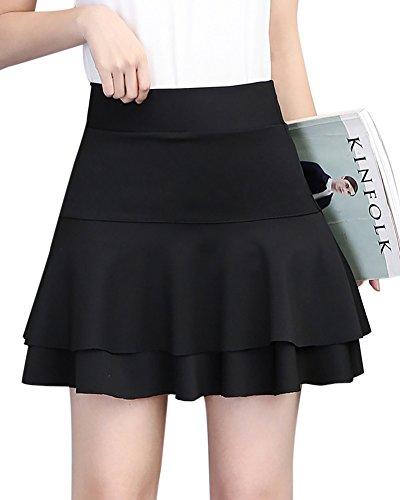 MISSMAO Falda Elástica Plisada Básica Cintura Alta Ajuste Delgado Minifalda Falda con Volantes Corto