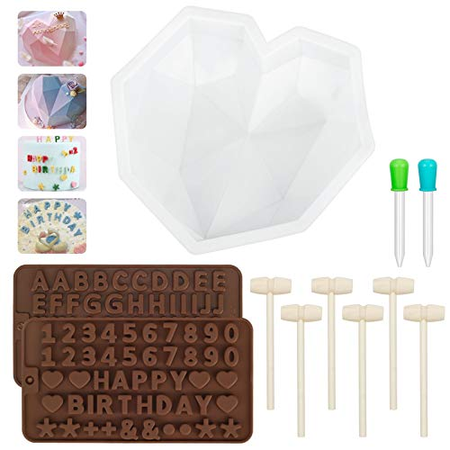 Diamond Heart Shaped Mousse Cake Mold Trays 8.7 Inch, Heart Mold Silicone Baking Pan - Letter and Number Chocolate Molds with 6Pcs Wooden Hammers Love for Valentine Happy Birthday Cake Decorations