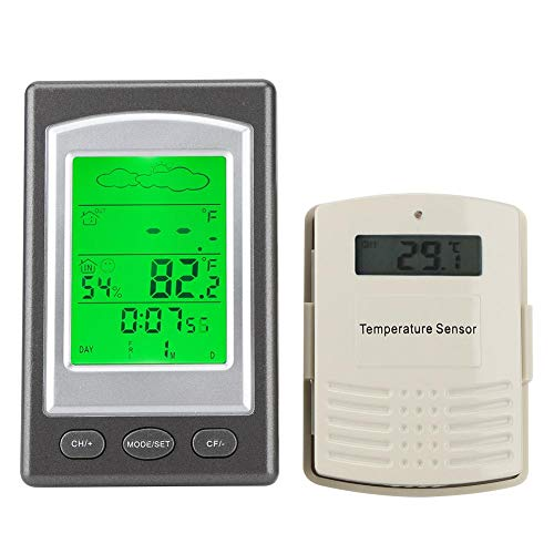 Topincn thermometer, binnentemperatuur, luchtvochtigheid, monitor met klok wekker, kalensturing, stemlicht achtergrondverlichting, led-weergave, keuze tijd functie